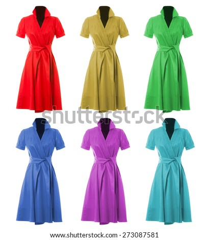 Woman's Dress Isolated on white background. Set. - stock photo