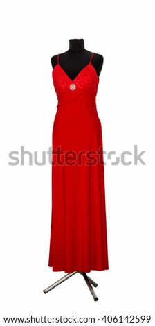 woman's dress on a mannequin isolated on white background