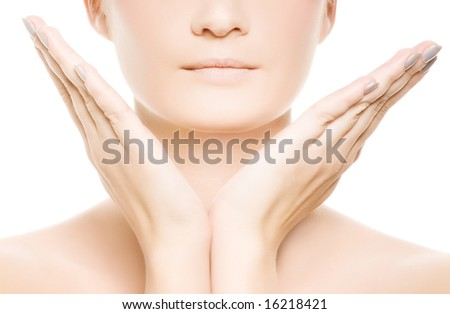 Woman's face and hands isolated on white background - stock photo