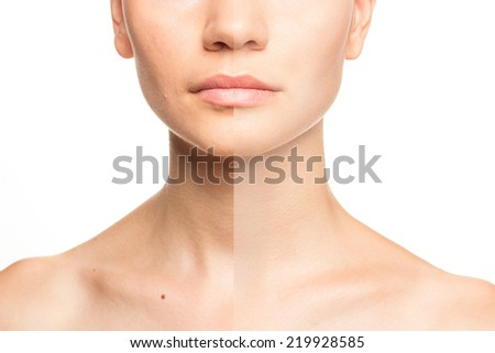 Woman's face, beauty concept before and after contrast, power of retouch - stock photo