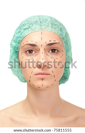 woman's face before plastic surgery, face lift - stock photo