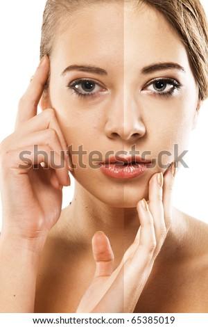 Woman's face correction. Closeup portrait half-and-half - stock photo