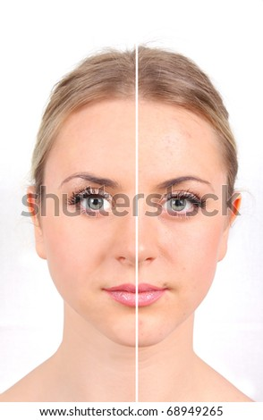 Woman's face on white background - stock photo