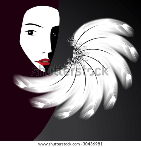woman's face with a fan (version vector 24860767) - stock photo