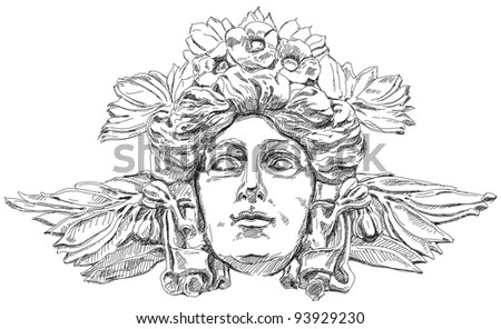 Woman's face with olive branches and flowers woven into the hair. Decorative element of the facade of a historic building in Prague. Czech Republic. Bitmap copy my vector - stock photo