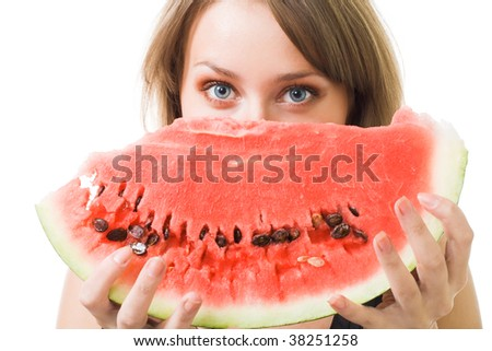 Woman's face with watermelon with blue eyes,isolaed on white - stock photo