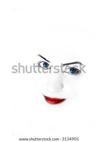 Woman's face with white space for text