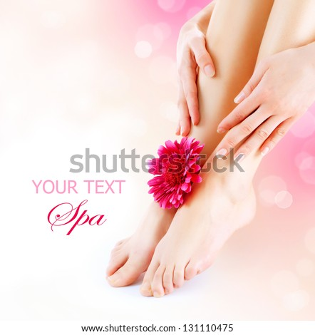 Woman's Feet and Hands isolated on white. Manicure and Pedicure concept. Nails. Spa. Skincare. Depilation. Epilation - stock photo