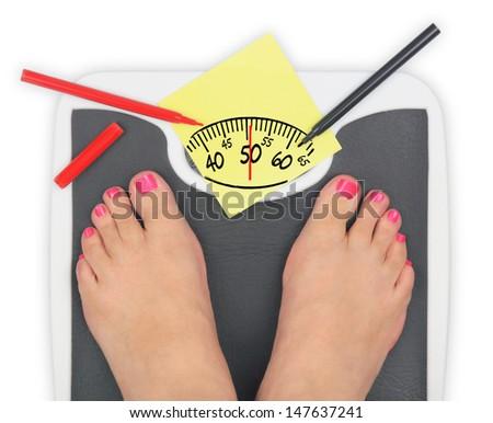 Woman' s feet on bathroom scale - stock photo