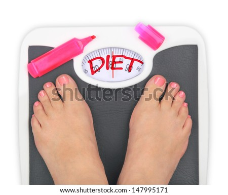 Woman' s feet on bathroom scale - stock photo