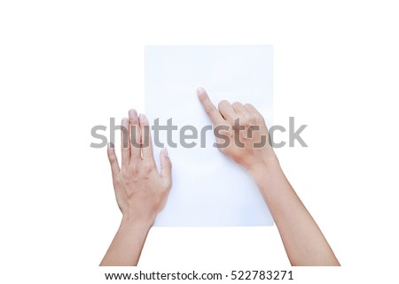 Woman's finger pointing and touching on paper isolated on white background, Education concept.