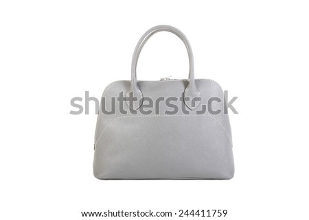 Woman's Gray Leather Bag isolated on white background - stock photo