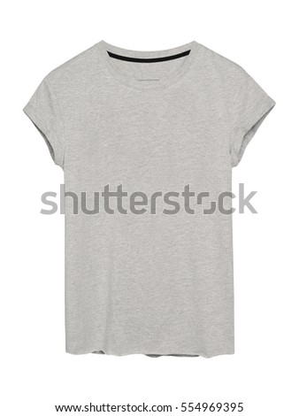 Woman`s gray t-shirt with empty space on white background