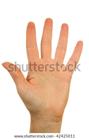 Woman's hand counting number 5 over white background