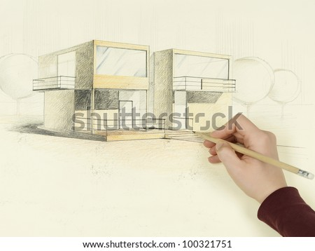 woman's hand drawing architectural perspective of modern house - stock photo
