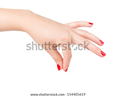 woman's hand giving something isolated on white background - stock photo