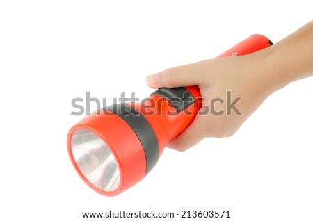Woman's hand hold flashlight on white background - stock photo