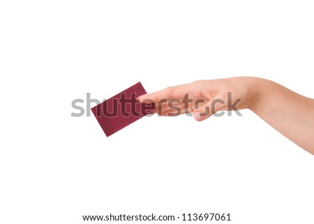 woman's hand holding a business card isolated - stock photo