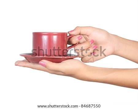 woman's hand holding a cup of coffee isolated on white background 2