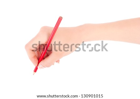 Woman's hand holding a red pencil on a white white background - stock photo