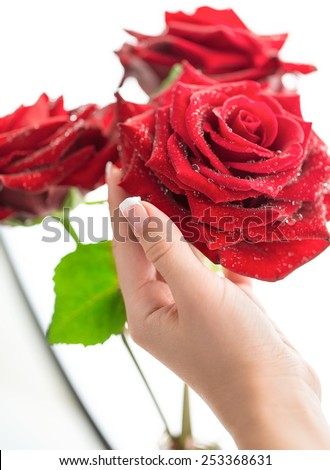 Woman's hand holding bouquet of three red roses. - stock photo