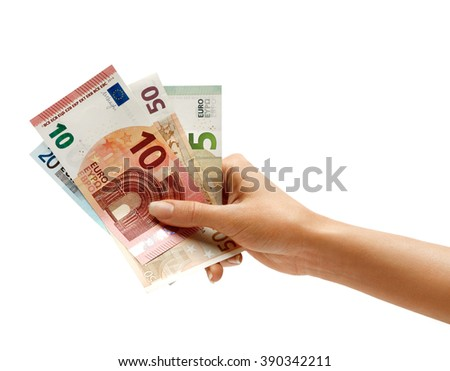 Woman's hand holding Euro Banknotes isolated on white background. Business concept - stock photo