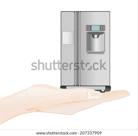 Woman's hand holding object-beautiful refrigerator isolated on white background.