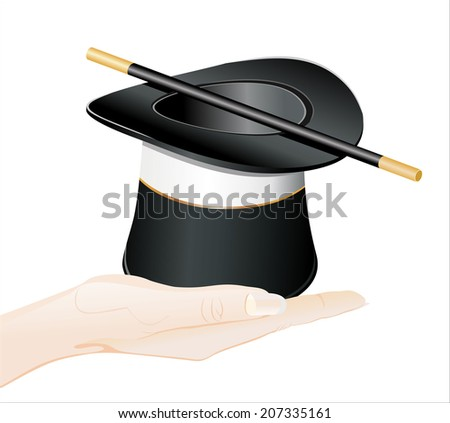 Woman's hand holding object-Top hat and a magic isolated on white background.