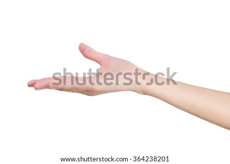Woman's hand holding something empty, isolated on white background.