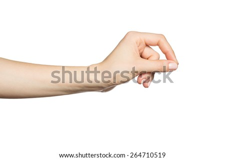 Woman's hand holding something, isolated on white - stock photo