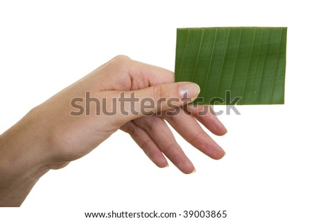 Woman's hand holding up green business card