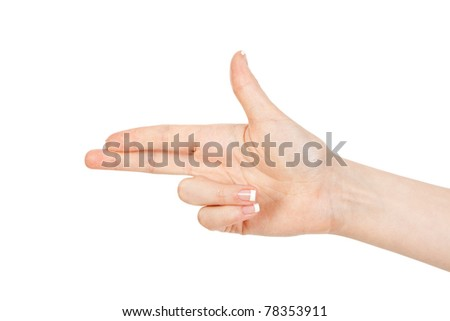 woman's hand indicates the direction - stock photo