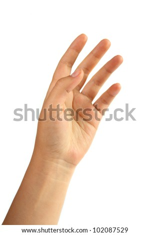 woman's hand on a white background - stock photo