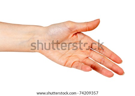 woman's hand, palm outstretched on a white background - stock photo