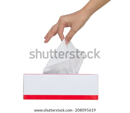 Woman's hand pulling white facial tissue from a box .isolated ,Clipping path  - stock photo