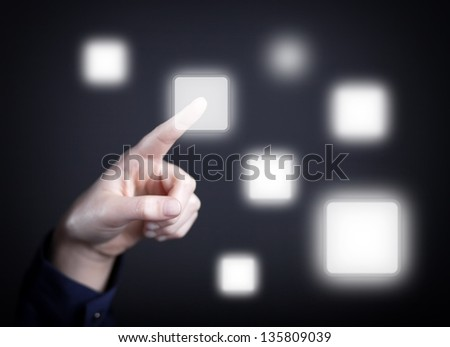 Woman's hand pushing the button on touch screen. Choice concept - stock photo
