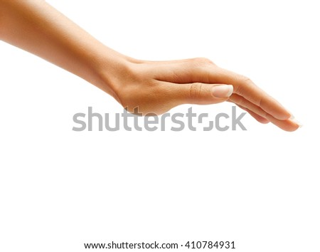 Woman's hand sign isolated on white background. Inverted open palm, close up. - stock photo