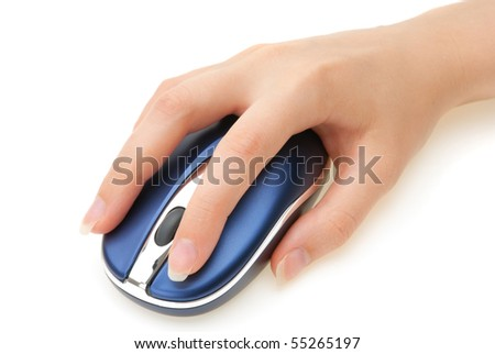woman's hand with a computer mouse on white background