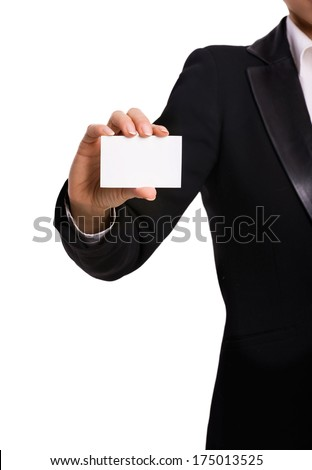 Woman's hand with blank card - stock photo
