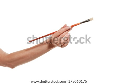 Woman's hand with brush - stock photo