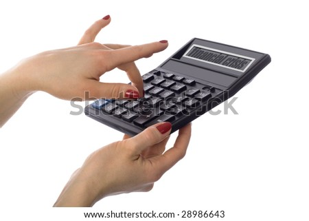 woman's hand with calculator of financial crisis