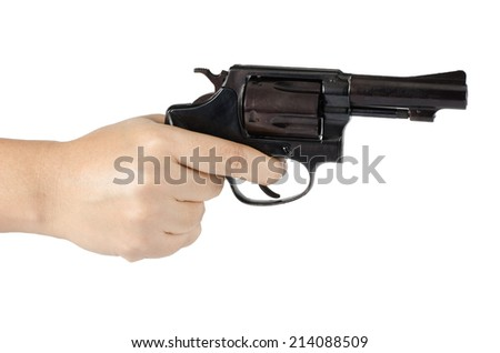 Woman's hand with gun isolate on white background