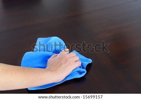 woman's hand with microfiber cloth polishing dark wood - stock photo