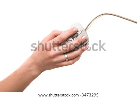 woman's hand with mouse isolated on white - stock photo