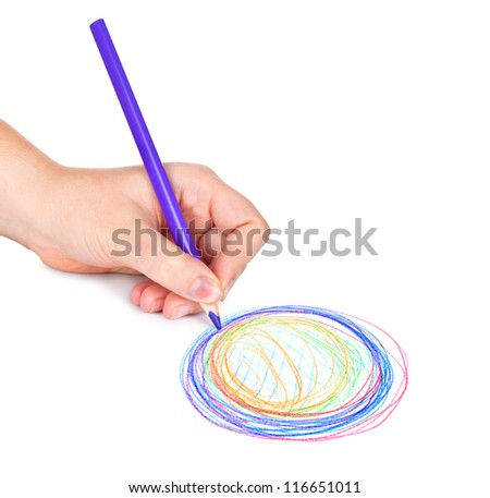 Woman's hand with pencil draws the circle, isolated - stock photo