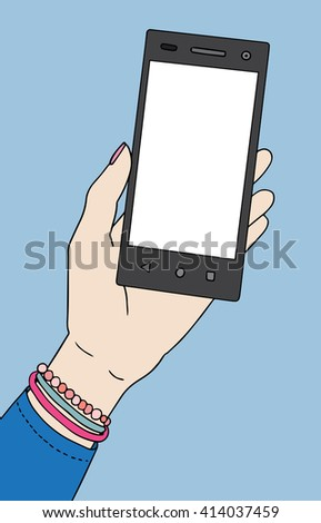 Woman's hand with smartphone. Raster illustration.