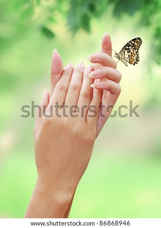 Woman's hand with The natural beauty of the butterfly - stock photo