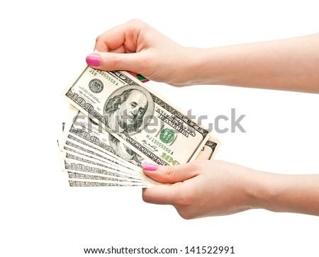 Woman's hands counting 100 US dollar banknotes, isolated on white background