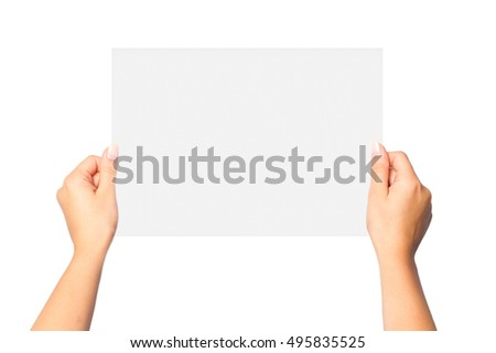 woman's hands holding a blank sheet of paper on a white background isolated