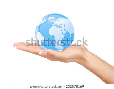 Woman's hands holding the glass earth globe on white background. - stock photo